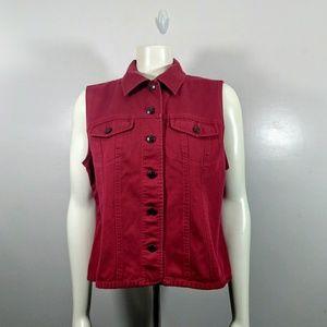 *New Listing*Talbots Petites Magenta Jean Vest